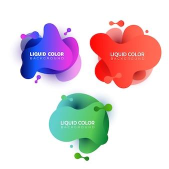 Zestaw abstrakcyjnych płynnych form gradientowych.