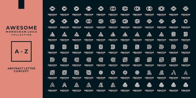 Zestaw abstrakcyjnych początkowych ikon projektowania logo azmonogramu dla biznesu luksusu
