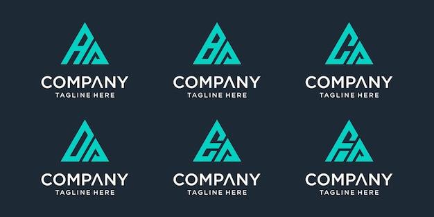 Zestaw Abstrakcyjnych Początkowych Liter Aa, Ba, Ca, Da, Ea, Szablon Logo Fa. Premium Wektorów