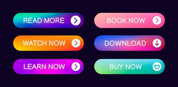 Zestaw abstrakcyjnych przycisków do użycia w interfejsie strony internetowej, interfejsu użytkownika, aplikacji i gry. nowoczesne elementy sieciowe.