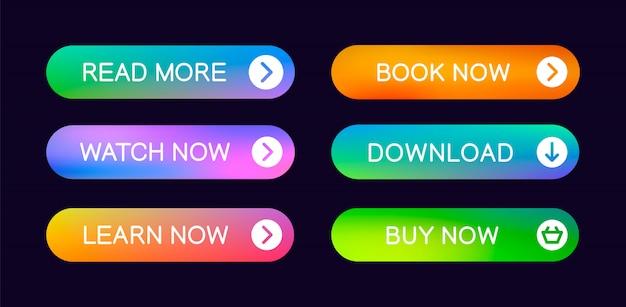 Zestaw abstrakcyjnych przycisków do użycia w witrynie, interfejsie użytkownika, aplikacji i interfejsie gry. nowoczesne elementy sieciowe.
