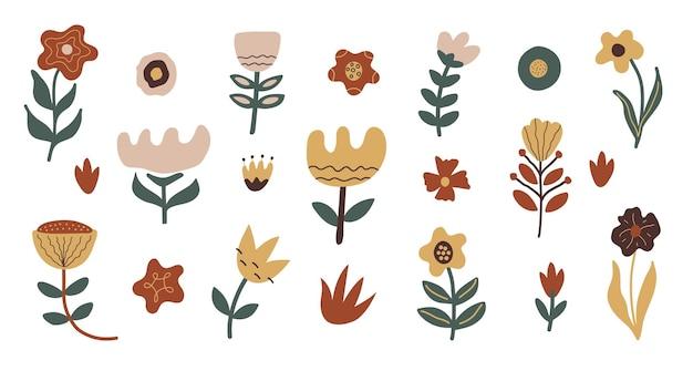 Zestaw abstrakcyjnych ręcznie rysowanych kwiatów i organicznych kształtów doodle na białym tle