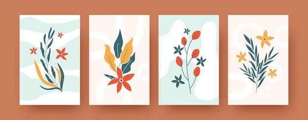 Zestaw abstrakcyjnych romantycznych elementów kwiatowych w pastelowych kolorach. współczesne szablony ilustracji botaniki artystycznej. koncepcja przyrody i kwiatów