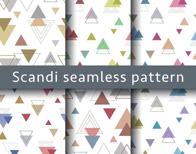 Zestaw abstrakcyjnych skandynawskich wzorów geometrycznych w stylu skandynawskim w wektorze
