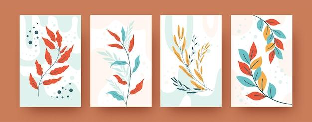Zestaw abstrakcyjnych sylwetki botaniki w stylu pastelowym. ilustracje różnych gałęzi zieleni. koncepcja przyrody i roślin