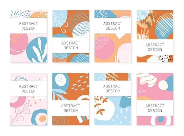 Zestaw abstrakcyjnych tła. ręcznie rysowane projekt do druku ulotek i sieci. pastelowe i jasne kolory.