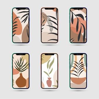 Zestaw abstrakcyjnych tropikalnych liści plakatu do opowiadań w mediach społecznościowych z telefonem komórkowym