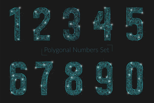 Zestaw abstrakcyjnych, wielokątnych liczb przypominających gwiazdy w blasku nocnego nieba w spase lub latających sz...