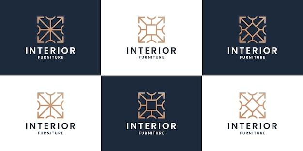 Zestaw abstrakcyjnych wnętrz logo projektowanie mebli domowych