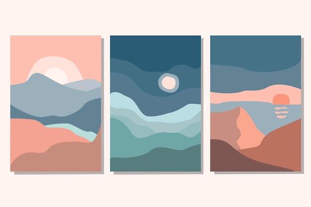 Zestaw abstrakcyjnych współczesnych środowisk estetycznych krajobrazów z wschodem, zachodem słońca, nocą. odcienie ziemi, pastelowe kolory. płaskie ilustracji wektorowych. współczesne szablony do druku artystycznego, dekoracje ścienne boho