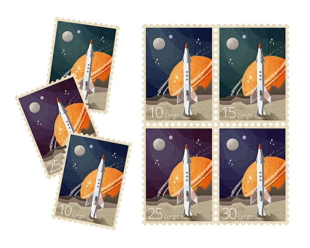 Zestaw abstrakcyjnych znaczków pocztowych przedstawia kosmos i rakietę z planetami
