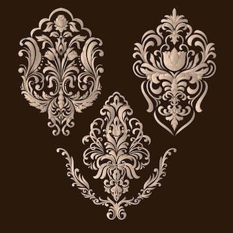 Zestaw adamaszkowych elementów ozdobnych. eleganckie kwiatowy abstrakcyjne elementy do projektowania.