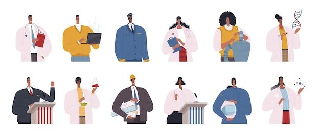Zestaw afroamerykańskich specjalistów. naukowcy, inżynierowie, lekarze, programiści, politycy i piloci to afroamerykanie. płaska konstrukcja ilustracja kreskówka na białym tle.