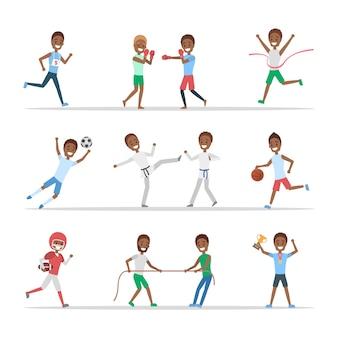 Zestaw afroamerykańskich sportowców. osoby uprawiające różne dyscypliny sportu: grają w koszykówkę, boksują, biegają i wygrywają zawody. ilustracja na białym tle płaski wektor