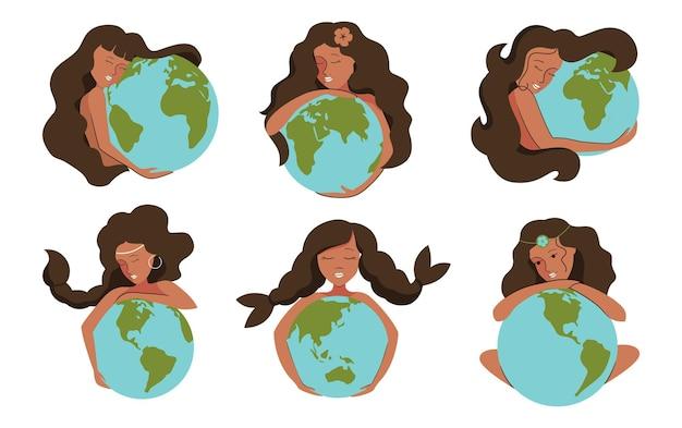 Zestaw Afrykańskich Dziewcząt I Planet Womans Przytula Ziemię, Aby Uratować Projekty Logo Planety Premium Wektorów