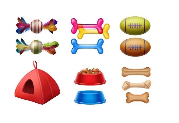 Zestaw akcesoriów dla zwierząt: zabawki, kości, piłki, kości, miski, domek