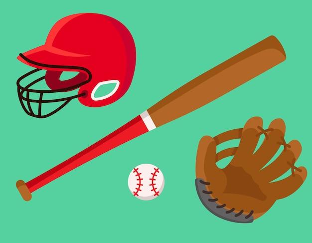 Zestaw akcesoriów do baseballu. sprzęt sportowy w stylu cartoon.
