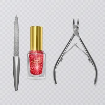 Zestaw akcesoriów do manicure, ilustracja nożyczek do manicure