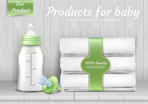 Zestaw akcesoriów do pielęgnacji dziecka, stos ręczników, smoczek, butelka z silikonowym smoczkiem