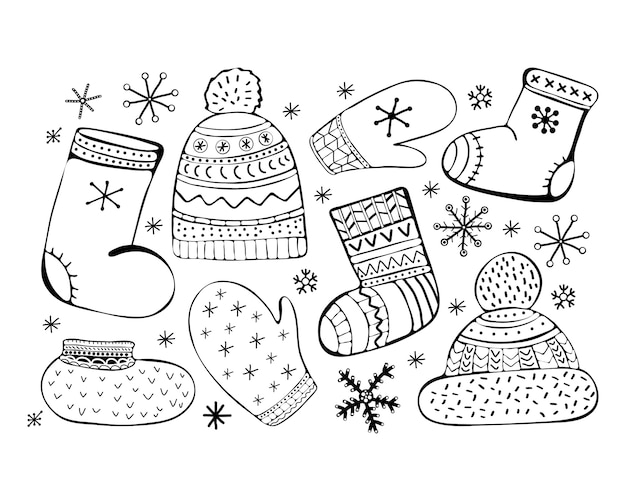 Zestaw akcesoriów ilustracja kreskówka. zimowe ikony. skarpetki, czapka z pomponem, mitenki, walenki, buty. ubrania zimowe. ręcznie rysowane czarno-biały zestaw.