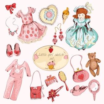 Zestaw akcesoriów kolorowych przedmiotów małej dziewczynki