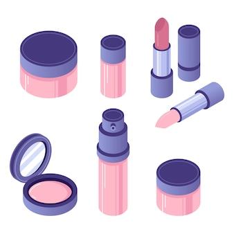 Zestaw akcesoriów kosmetycznych izometryczny