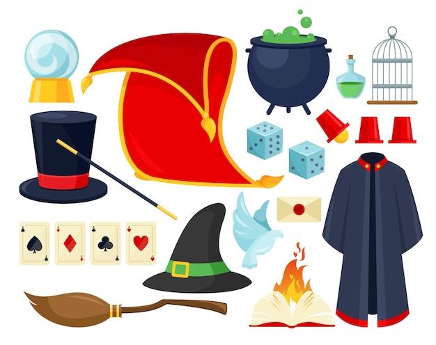Zestaw akcesoriów magician. sprzęt do pokazów magii, iluzjonistyczne narzędzia i przedmioty do spektakli