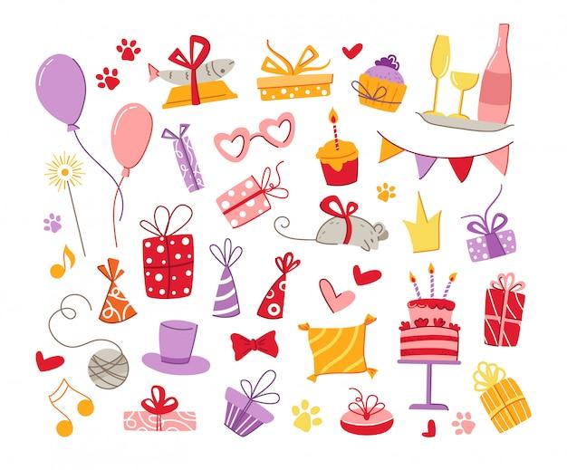 Zestaw akcesoriów na przyjęcie urodzinowe dla kotów - pudełka na prezenty, jedzenie, poduszka, ryba, mysz, flagi i balony, tort urodzinowy