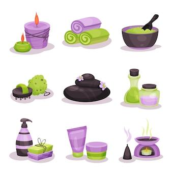 Zestaw akcesoriów spa, elementy zabiegów spa z kamieniami bazaltowymi, olejek do masażu, świece, ręczniki ilustracje na białym tle