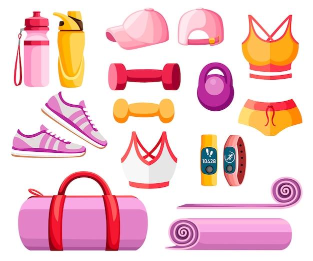 Zestaw akcesoriów sportowych i ubrań. stroje damskie. kolekcja kolorów pomarańczowych i różowych. ikony do zajęć na siłowni. ilustracja na białym tle