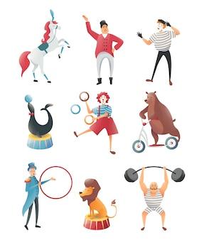 Zestaw akrobatów ze zwierzętami w cyrku