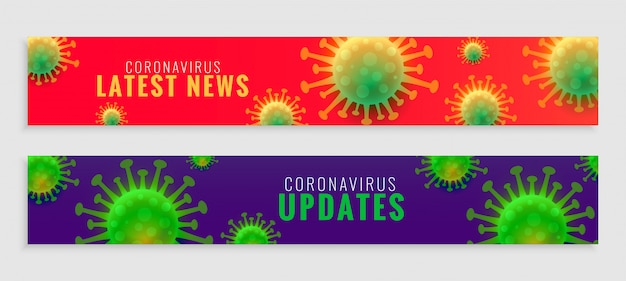 Zestaw aktualizacji koronawirusa covid-19 i najnowszych banerów informacyjnych