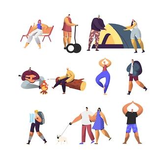 Zestaw aktywnego stylu życia osób. postacie męskie i żeńskie na obozie letnim