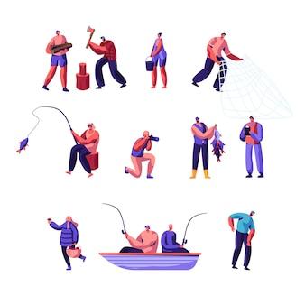 Zestaw aktywności ludzi na zewnątrz. postacie męskie i żeńskie uprawiające aktywny wypoczynek na łonie natury
