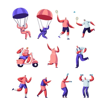 Zestaw aktywności sportowej seniorów i zdrowego stylu życia. starsi ludzie w strojach sportowych wykonujący ćwiczenia na świeżym powietrzu, bieganie, skoki spadochronowe, wspólne granie w badmintona.