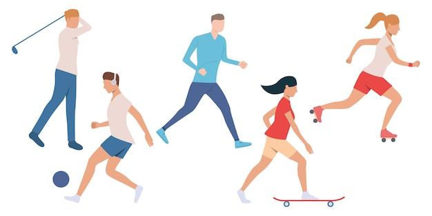 Zestaw aktywnych ludzi uprawiających sport
