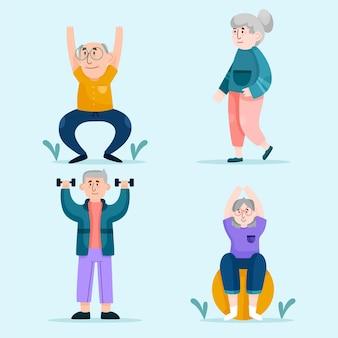 Zestaw Aktywnych Osób Starszych Darmowych Wektorów