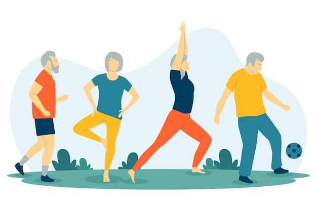 Zestaw aktywnych osób starszych