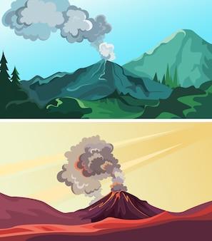 Zestaw aktywnych wulkanów na wolności. piękne krajobrazy przyrody.