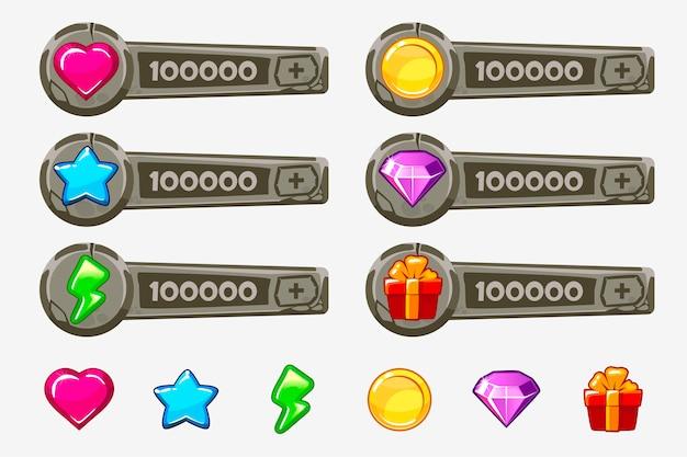 Zestaw aktywów gry kreskówka kamień. elementy gui i ikony. panele dodawania do gry