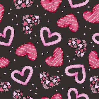 Zestaw akwarela bezszwowe wzór z różowymi i czerwonymi sercami na czarnym tle, izolowany element koncepcji akwarela valentine piękne romantyczne czerwono-różowe serca do dekoracji, ilustracji.