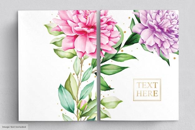 Zestaw akwarela bukiety pięknych kwiatów