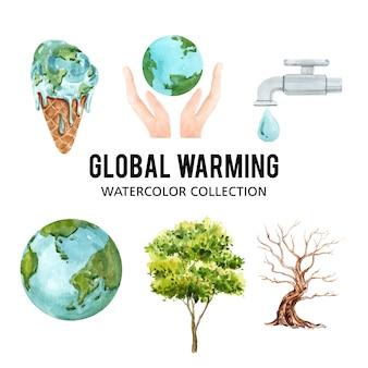Zestaw akwarela globalne ocieplenie, ilustracja elementów na białym tle