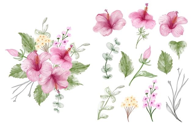 Zestaw akwarela hibiskusa na białym tle