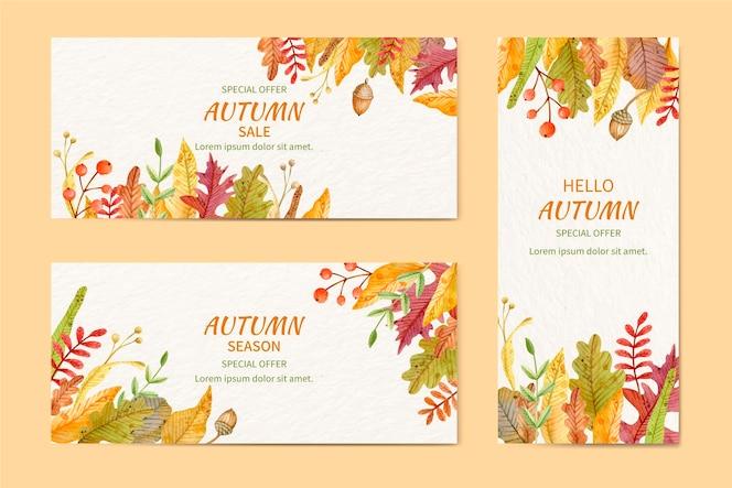 Zestaw akwarela jesiennych banerów