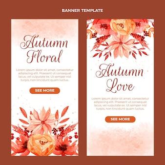 Zestaw akwarela jesiennych pionowych banerów