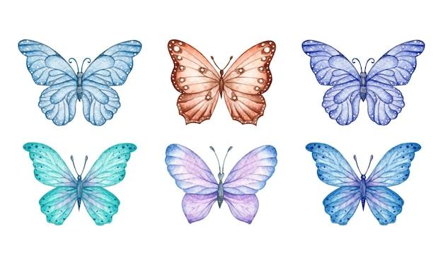 Zestaw akwarela kolorowych motyli dla karty z pozdrowieniami
