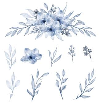 Zestaw akwarela kwiatów i liści niebieski