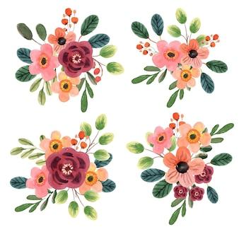 Zestaw akwarela kwiatowy bukiet