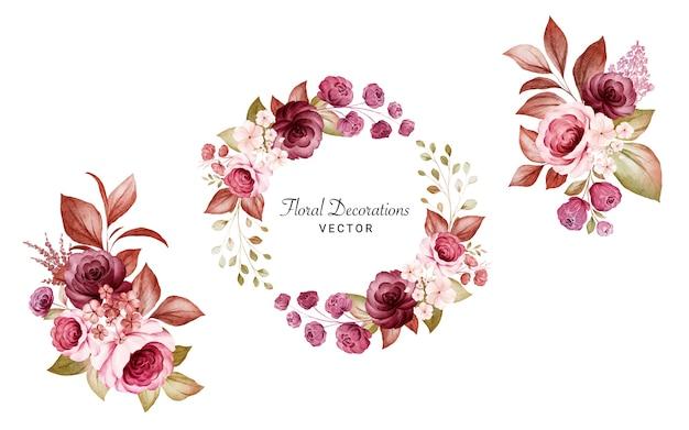 Zestaw akwarela kwiatowy ramki i bukiety bordowych i brzoskwiniowych róż i liści.
